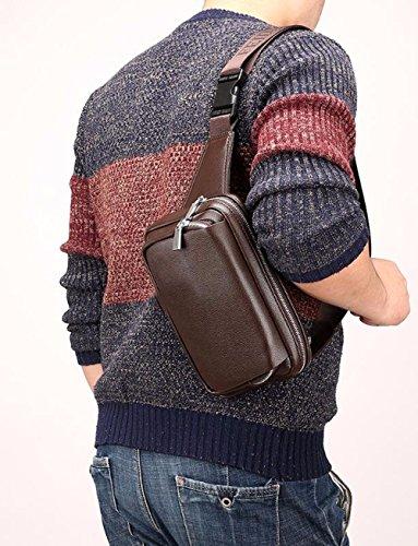 Black hombro de Phone Brown pecho capacidad hombres los Bag gran de ocio Bolso cuero bolsa cintura de transversal Surnoy de Brown de Mobile Brown sección bolsillo de Solo CqxASS