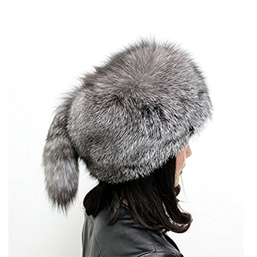 ZSDN Womens Winter Hats Genuine Fox Fur Hat Fur Knitted Round Hats Grey by ZSDN