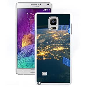 DIY and Fashionable Cell Phone Case Design with Earth From Space At Night Galaxy Note 4 Wallpaper in White