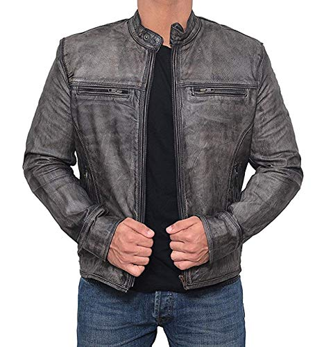Decrum Mens Garcia Fitted Distressed Grey Authentic Lambskin Leather Motorcycle Jacket - 3XL