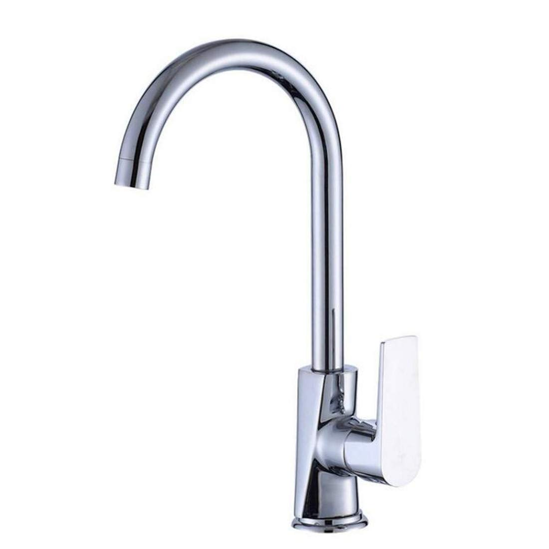 Modern Vintage Chrome-Plated Brass Kitchen Wash Basin Faucet 360 Degree redating Faucet with Hot and Cold Water Mixing
