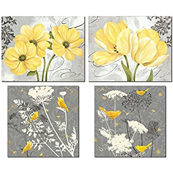 Amazon yellow grey rose flower black white floral canvas beautiful grey yellow poster set birds and flowers two 12x12in and two 14x11in unframed poster prints mightylinksfo