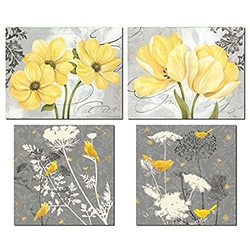 Beautiful Grey U0026 Yellow Poster Set; Birds And Flowers; Two 12x12in And Two  14x11in Unframed Poster Prints