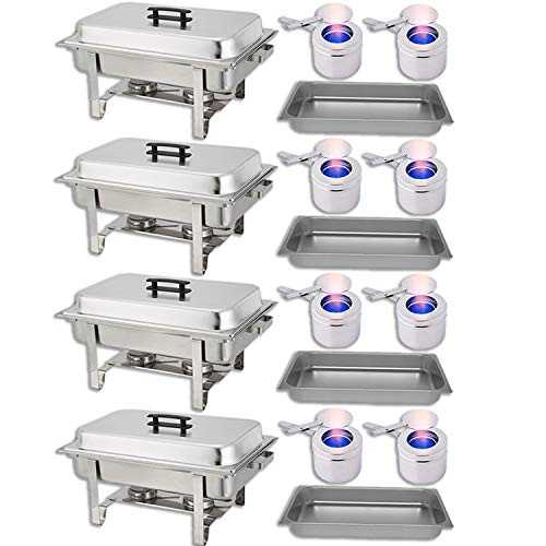 Chafer Warmer - Chafing Dish Buffet Set - Water Pan + Food Pan (8 qt) + Frame + 2 Fuel Holders - Stainless-Steel Warmer Kit 4 Pack