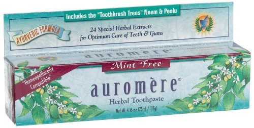 Auromere Herbal Toothpaste, Mint Free, 4.16-Ounces (Pack of 8) by Auromere (Image #1)