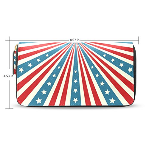 Clutch Leather long Wallet for Women,Independence Day,Card Holder Purse Bag
