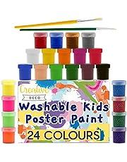Creative Deco Wasbare Poster-Verf Set voor Kinderen   24 potten x 20 ml   Niet-Giftig   Basis, Fluorescerend, Schitteren, Metaal- & Neonkleuren   Perfect voor Beginners Studenten & Kunstenaars