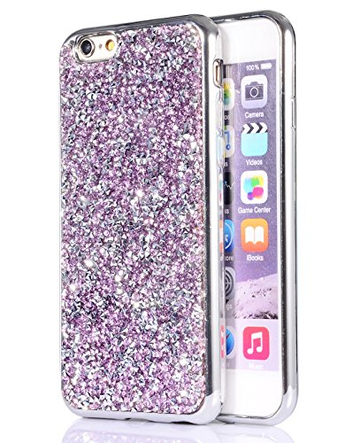 iPhone 6s/6 plus case, FLYEE Bling Crystal 3D Diamond Pattern Sparkly Handmade Rhinestone Soft TPU Silicone Bumper Cover Perfect Fit for Apple iphone 6s plus 5.5 inch-Purple