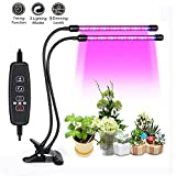 Dual Head LED Plant Grow Light ~2018 New Upgraded~ 9 Dimmable Levels 3 Switch Modes for Red/Blue Spectrum for Indoor Plant Hydroponics 18 W 40 LED 3/6/12 H Timer 360 degree Adjustable Gooseneck