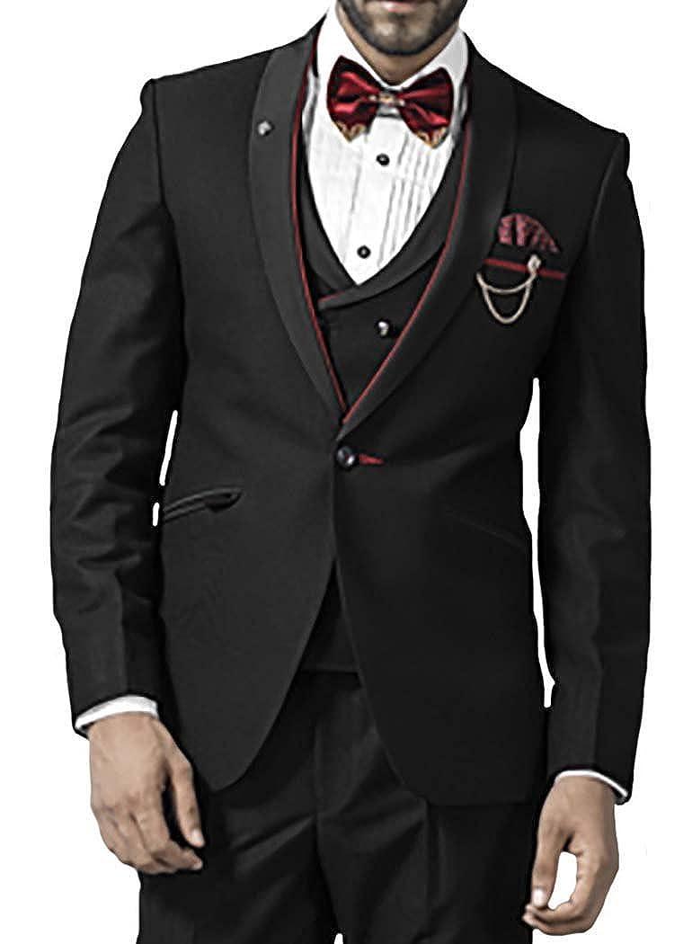 INMONARCH Hombres 7 Pc Traje Negro Esmoquin Impresionante un botón ...
