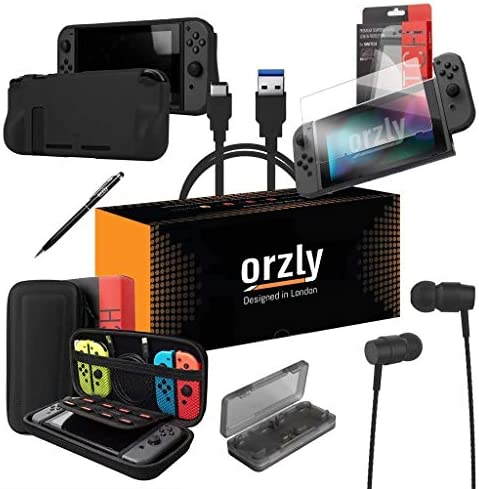 Switch Accessories Bundle - Orzly Essentials Pack for Nintendo transfer Case & Screen Protector, Grip Case, Games Holder, Headphones - Classic Black Edition