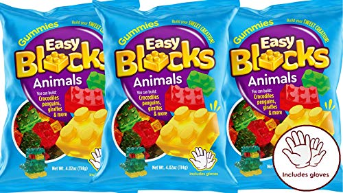 Gummy Bear Blocks Fun Candy (3 Pack Legous Animals) Soft Chewy Fruit Gummies I Build Them and Eat All . Gloves Included I Block-Animal-3