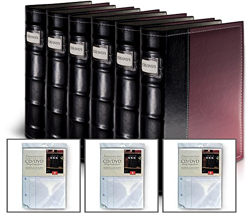 Burgundy DVD Organization Binders- 384 Disc Capacity (With 3 Extra Inserts) Burgundy Insert