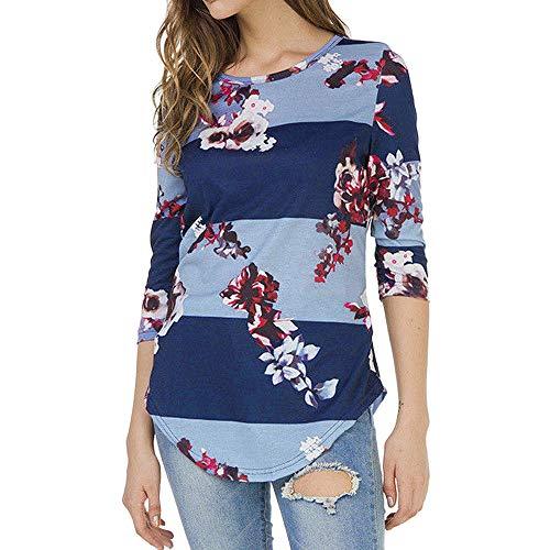AOJIAN Blouse T Shirt Women Casual Print Floral Three Quarter Sleeve Top 2019 Light Blue