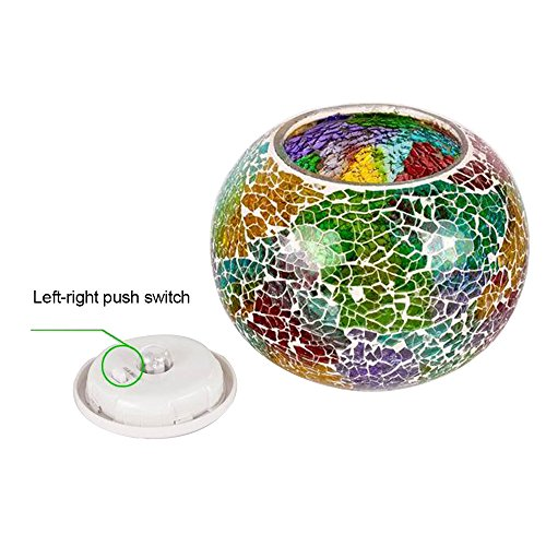 Table Waterproof Party Outdo Lawn Beside Power Glass Mosaic Patio TechCode Garden Decoration for Crystal Lamp Yard Night Light Table Lights Desk Light Solar Lantern Colour Changing A01 Solar Pool EqUpgw