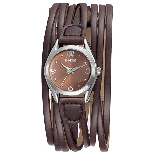 Women Leather Wrap Around Quartz Watch Lady Vintage Bracelet Watches (Brown) by LAIMAI