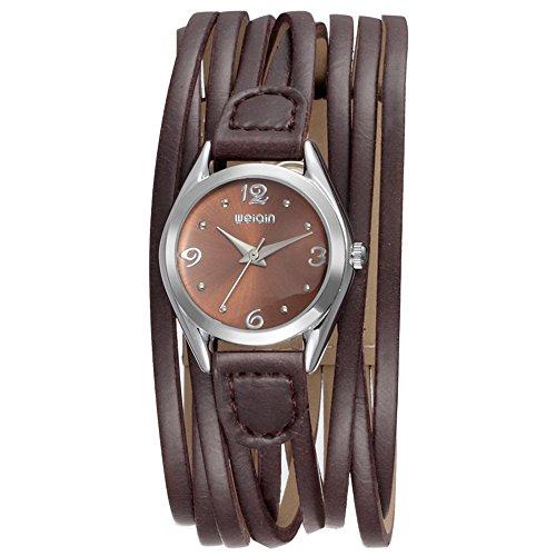 Women Leather Wrap Around Quartz Watch Lady Vintage Bracelet Watches