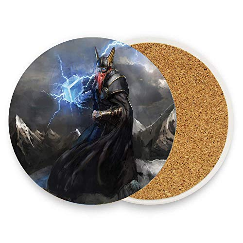 HappyToiletLidCoverX Thor with Mjolnir and Thunder Flying Over Mountains Angry Warrior from Norse Myths Absorbent Coaster For Drinks Ceramic Thirsty Stone With Fit Big Cup, No Holder Pack Of 1]()