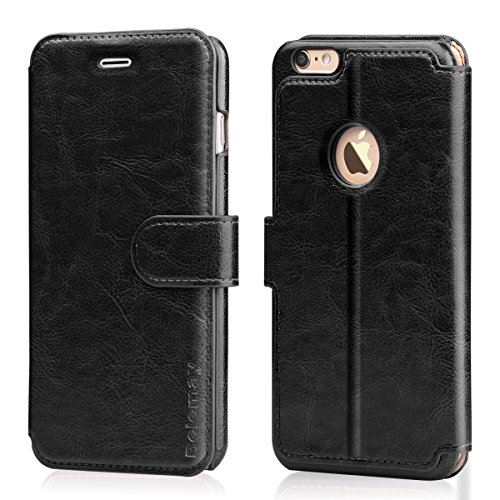 Genuine Cowhide Leather Case (Belemay iPhone 6S Plus, iPhone 6 Plus Case, Genuine Cowhide Wallet Leather Case, Flip Book Cover with Magnetic Clasp Credit Card Slots Kickstand Money Pouch for iPhone 6s Plus / 6 Plus - Black)
