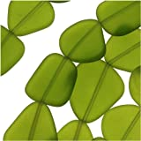Cultured Sea Glass, Flat Freeform Beads 18-28mm, 5 Pieces, Olive Green