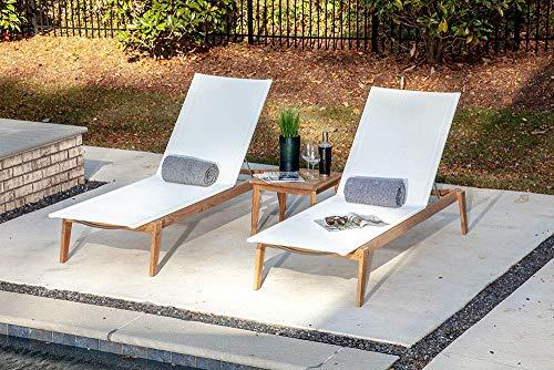 Chaise Lounger Adjustable Teak (POVL Outdoor Menlo Teak Chaise Lounge - Set of 2 (Winter))