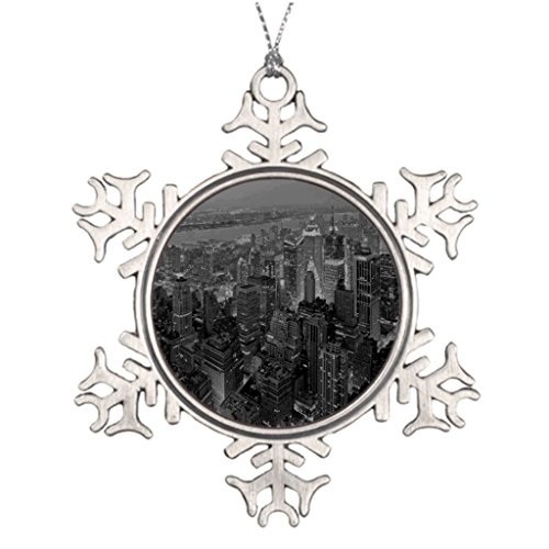 Price comparison product image SofterWind Panorama Black White Color City Image Best Friend Snowflake Ornaments Merry Christmas From Heaven Snowflake Ornament