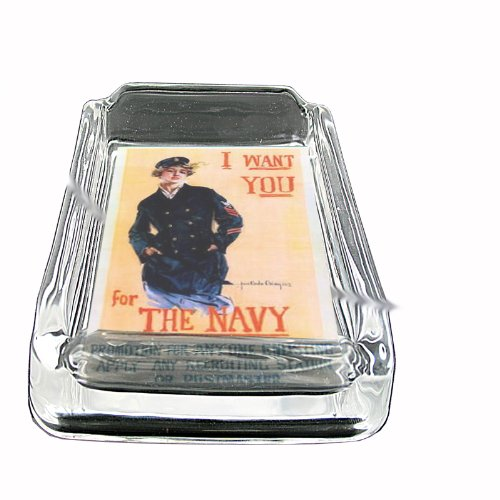 (Christy Navy Poster Glass Square Ashtray D-248)