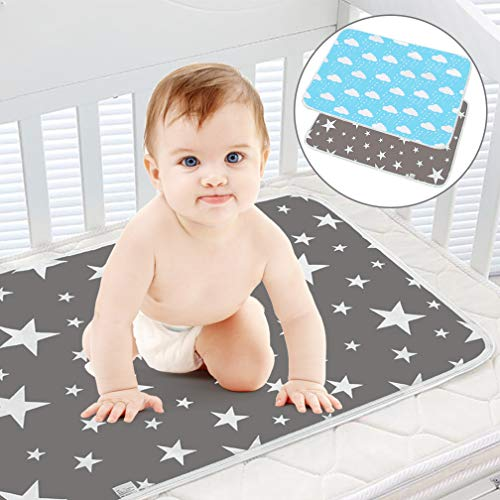 Waterproof Baby Diaper Changing Pad Multi Function Diaper Change Mat for Girls Boys Newborn - 100% Leak Proof Sanitary Mats for Home and Outdoor, Travel,Premium Liners 19.6X27.5 in (Grey&Blue) (Baby Diaper Change Mat)
