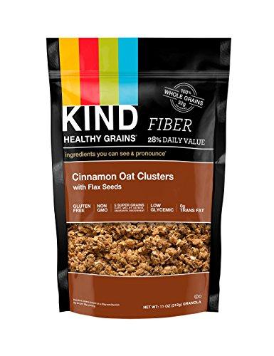 KIND Здоровые Зерновые Кластеры, корица овса с семян льна, 11-унция сумки, 3 графа, разочарование упаковка без