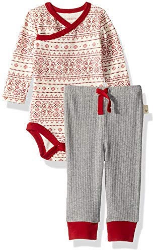 Burt's Bees Baby Baby Bodysuit & Pant Set, 100% Organic Cotton, Cranberry Fair Isle/Grey, 3-6 Months ()