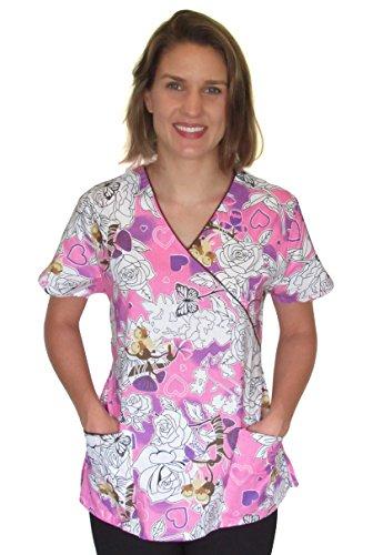 Womens Printed Scrub Tops - adjustable ties (S, Monkeys with Roses)