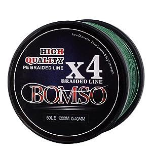 BOMSO 1000m 1094yds 10lbs-60lbs PE Ultra High Molecular Weight Polyethylene(HHMWPE) Dyneema Braided Fishing Line 4 Strands(DG15