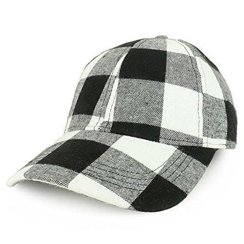 Cap Ball Plaid (Trendy Apparel Shop Buffalo Checker Adjustable Cotton Baseball Cap - Black White)