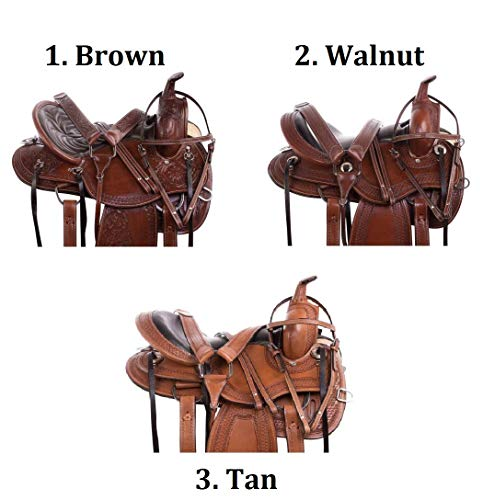 "AceRugs 15"" 16"" 17"" 18"" Comfy CUSH Amazingly Comfortable DEEP SEAT Western Trail Endurance Leather Horse Saddles TACK Package (Brown, 15)"