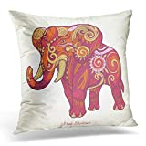 Black African Elephant Pink Ethnic Tribal Tattoo Animal Stencil Abstract Design White Beautiful Billet Decorative Pillow Case Home Decor Square 18x18 Inches 45cm