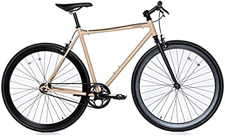 Moma Bikes Bicicleta Fixie Urbana, Fixie BeigeFixed Gear & Single ...