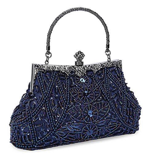 Beaded Evening Bag Handbag - Clocolor Evening Bag and Clutches for Women Beaded Sequin Wedding Purse Party Bridal Handbag (Blue)