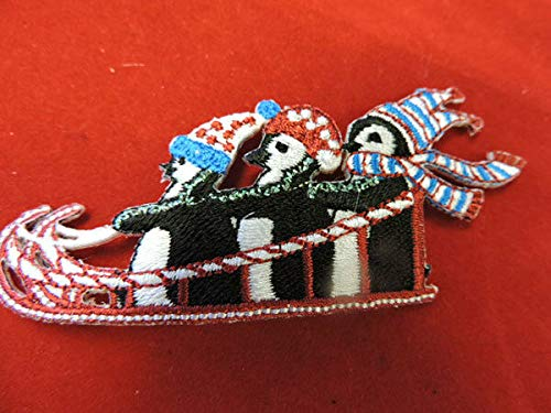 Christmas Penguins Sledding Embroidered Iron ON Applique - Sledding Penguin