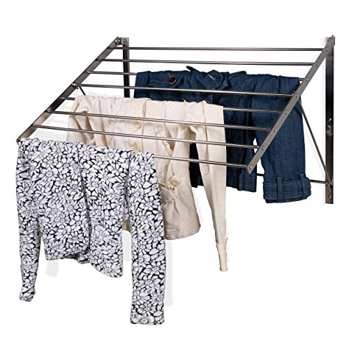 brightmaison Clothes Laundry Drying Rack Heavy Duty Stainless Steel Wall Mounted Folding Adjustable Collapsible Space Saver 6.5 Yards Drying Capacity (Wall Mount Clothes Drying Rack)