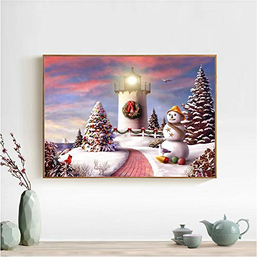 Santa Snowman Diamond Painting, 5D DIY Diamond Painting Full Drill Rhinestone Embroidery Cross Stitch Arts Craft Wall Décor, Romantic Castle and Fireworks (C)