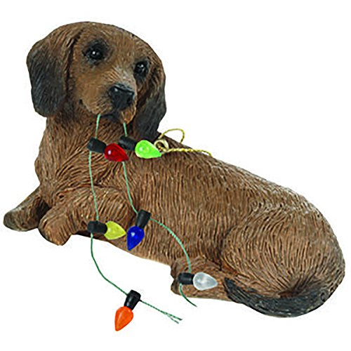 - Sandicast XSO04404 Dachshund Red Holiday Ornament Sculpture