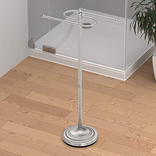 Gatco 1506 Floor Standing S Style Towel Holder, Satin Nickel