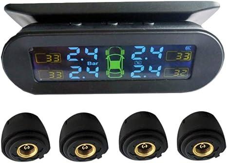 Wakauto Universelles Reifendruckkontrollsystem Für Pkw Funk Solar Reifendruckprüfer Innen Und Außen Schwarz Mit Batterie Küche Haushalt