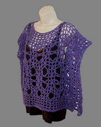 Shirt Top Shrug Layered - Purple Cotton Shirt, Crochet Top, Plus Size Shirt, Dolman Top, Layered Look Tee, Womans Blouse, Grunge Top, Purple Mesh Tee, Plus Tunic