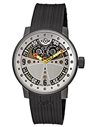 GV2 by Gevril Men's 'Powerball' Swiss Quartz Stainless Steel and Rubber Casual Watch, Color:Black (Model: 4041R.P)