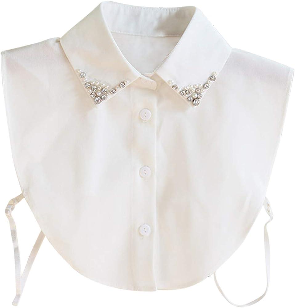 Hocaies Cuello Falso, Blusa Desmontable Blusa Desmontable de Las Mujeres Elegantes de la Vendimia Blanca: Amazon.es: Ropa y accesorios