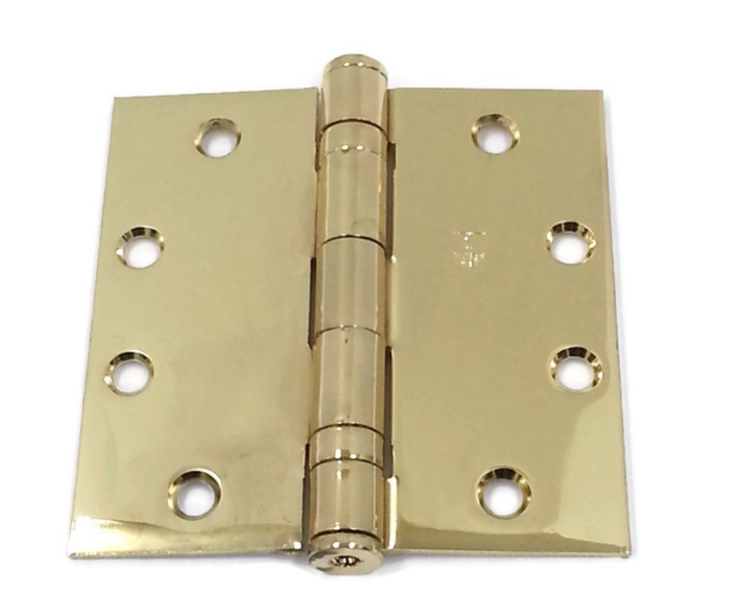 Box of 3 Ball Bearing hinges Polished Brass Hager Full Mortise Steel Hinge BB1279 4.5 x 4.5 US3//632