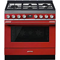 Smeg Portofino CPF36UGMR 36x 25, 4.5 cu. ft. Oven Freestanding Pro-Style Dual Fuel Range, Red