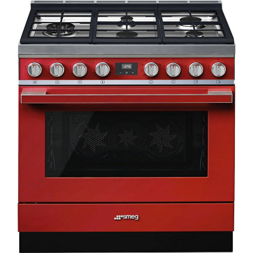 Price comparison product image Smeg Portofino CPF36UGMR 36''x 25'',  4.5 cu. ft. Oven Freestanding Pro-Style Dual Fuel Range,  Red