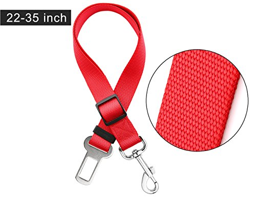 LIBERRWAY Pet Seat Belt Dog Cat Adjustable Safety Harness Car Seatbelt Travel Protector with Metal Clip Red For Sale